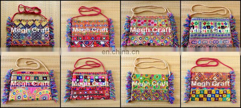 vintage Banjara wallet Clutch- Banjara Mirror work wallet- Embroidered Mirror Work Wallet