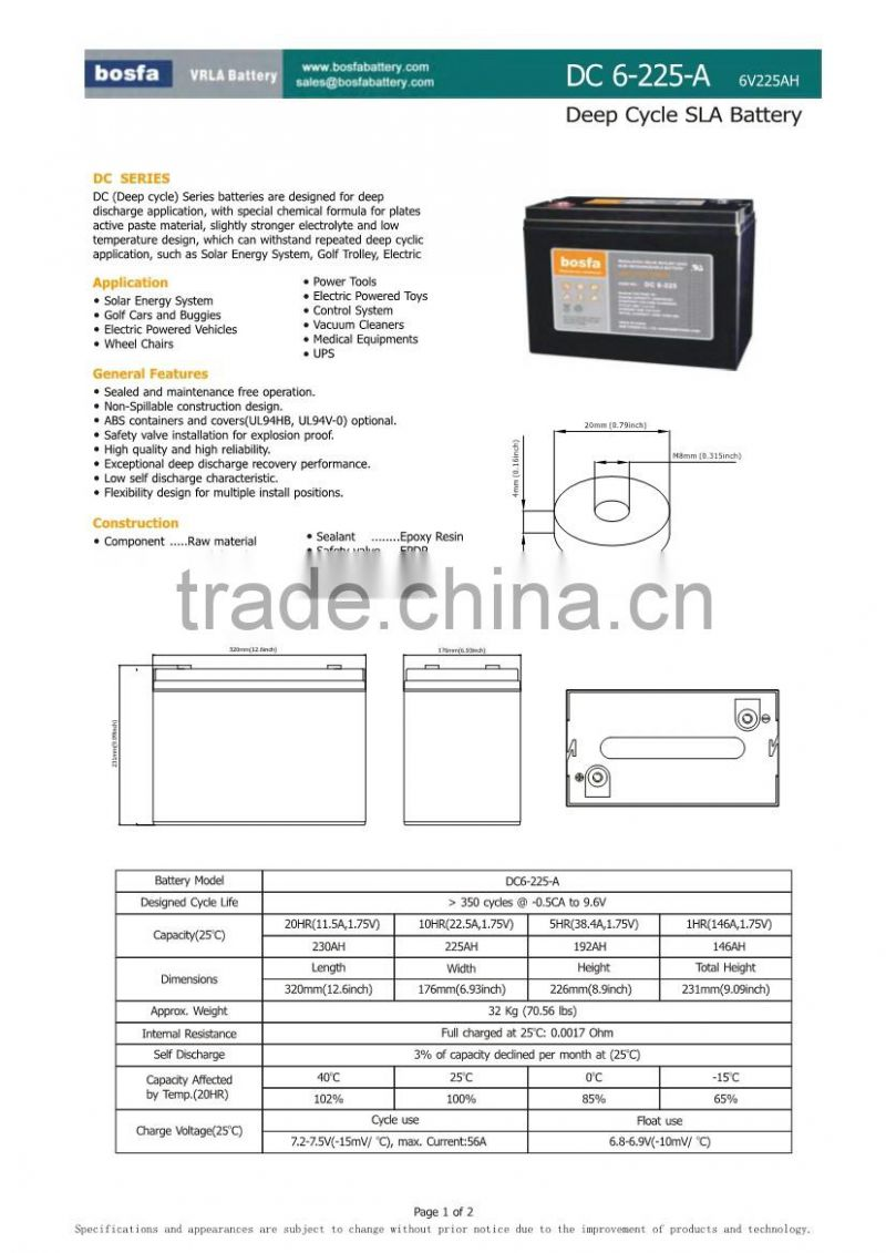 deep cycle battery 6v225ah charge battery solar