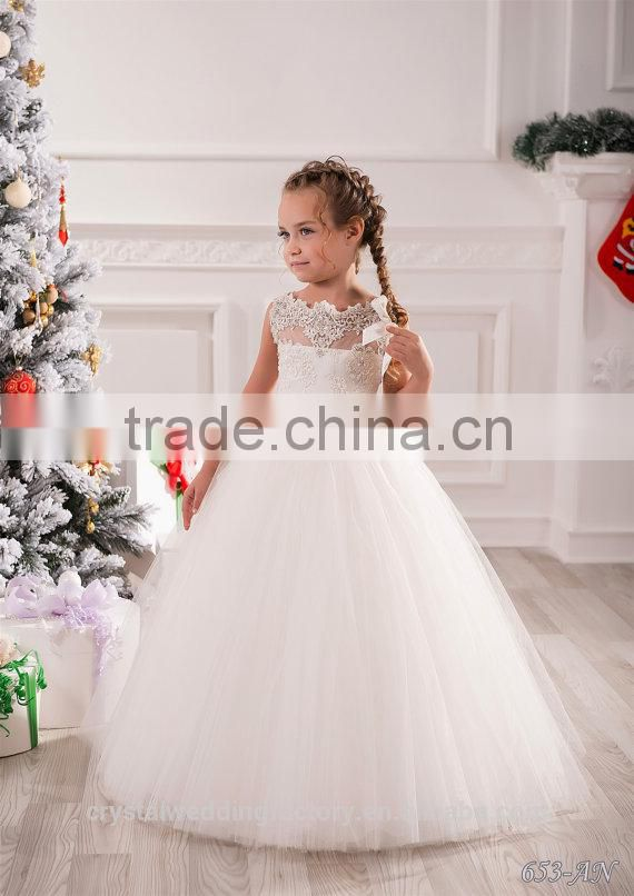New Latest Children Wedding bridesmide dresses Frocks Birthday Lace Ball Gown Long Flower Girl Dresses Pattern Kids Party LF22 Image