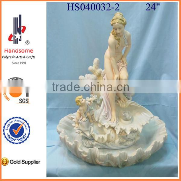 "48"" Big resin angel religious water fountain garden water fountain"