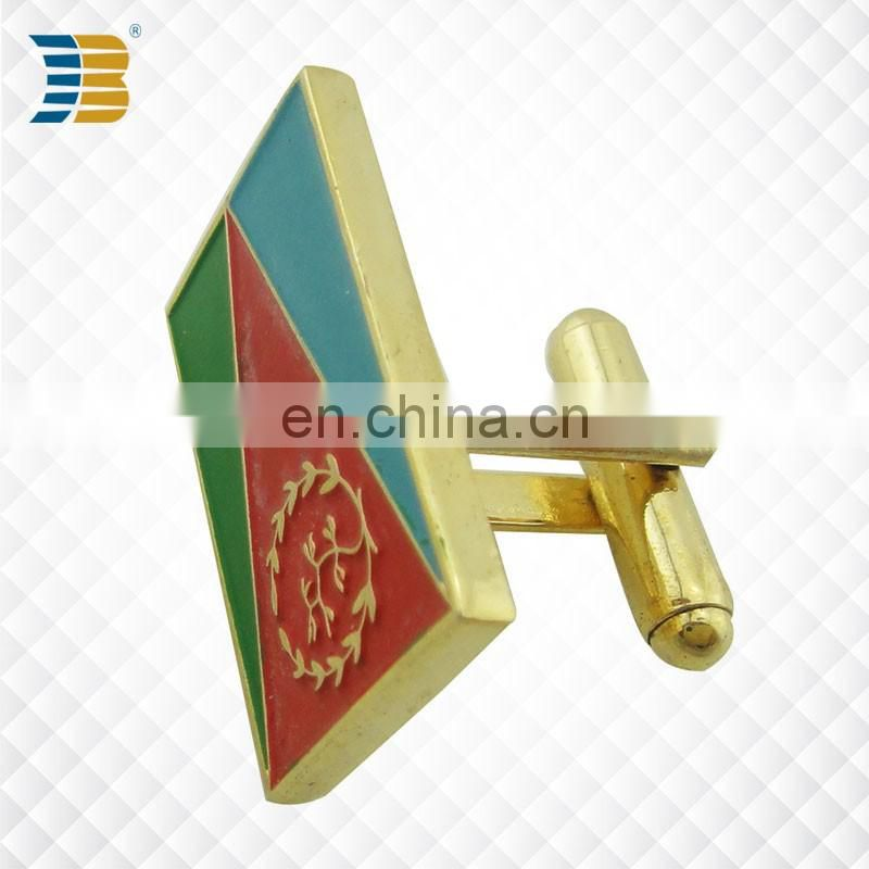 rectangle flag shape custom enamel gold plating cufflink