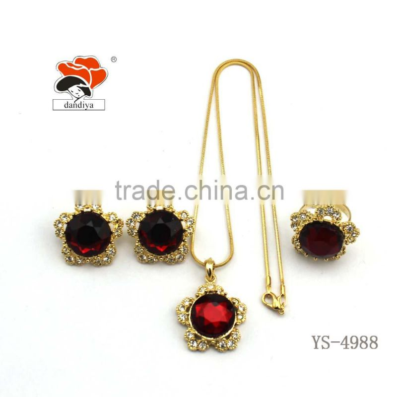 Fashion Jewelry manufacturers cheap wholesale alloy resin necklace+earrings+ring jewelry set