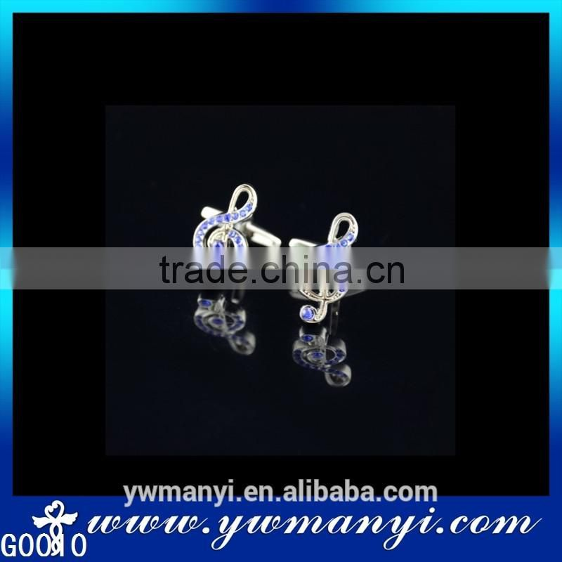 Wholesale high qaulity music blue rhinestone note cufflink G0010