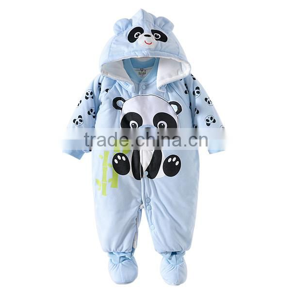 baby clothes wholesale animal bear printed thick toddler warm bodysuit jumpsuits cute baby winter romper with bibs