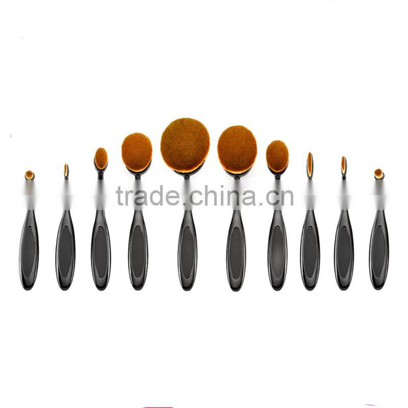 Best sell 10pcs tooth shape oval makeup foundation brush set with private brand accept OEM&ODM