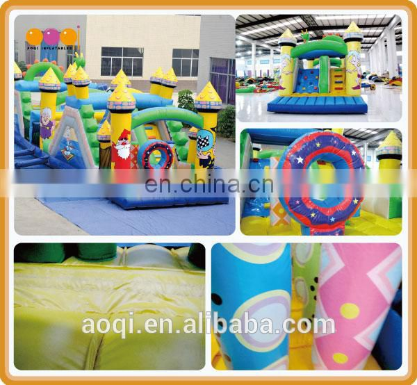 AOQI cartoon kingdom castle inflatable obstacle slide for kids