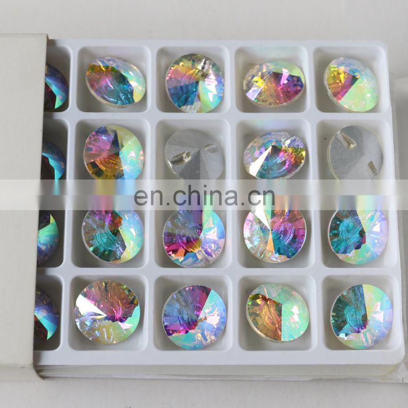 DZ-3119 crystal ab color round rivoli crystal sew on buttons for clothes