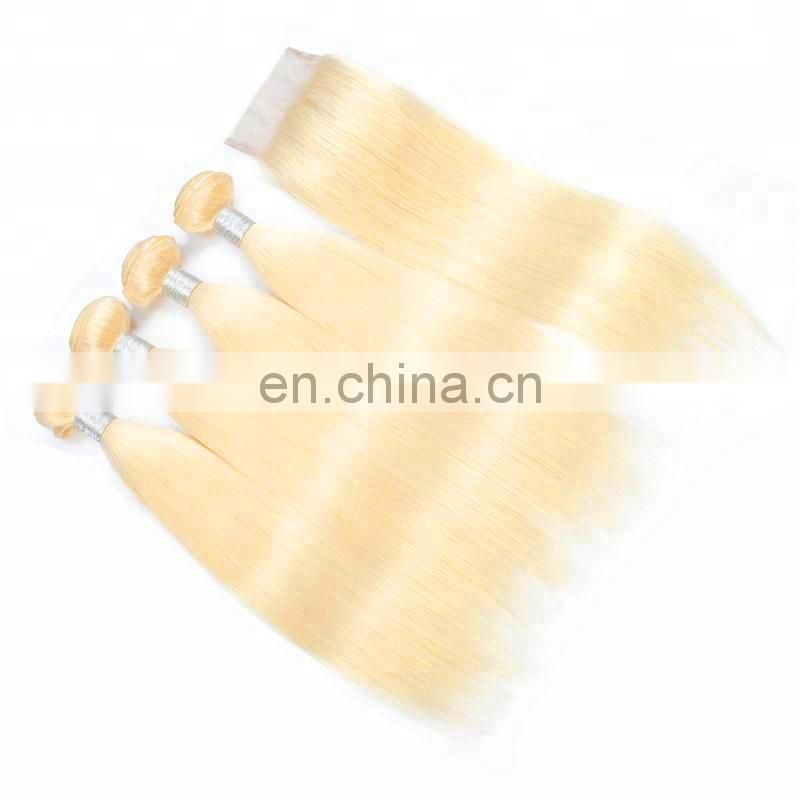 100% human hair color 613 blonde hair weave bundles and frontal and closures