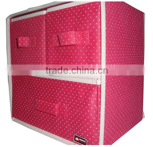 AN15 ANPHY Non-woven 3 drawers Storage Box Cabinet Drawer Box H30*L30*W23cm Dots Fabric Customize ok Blue Red 2 colors in stock