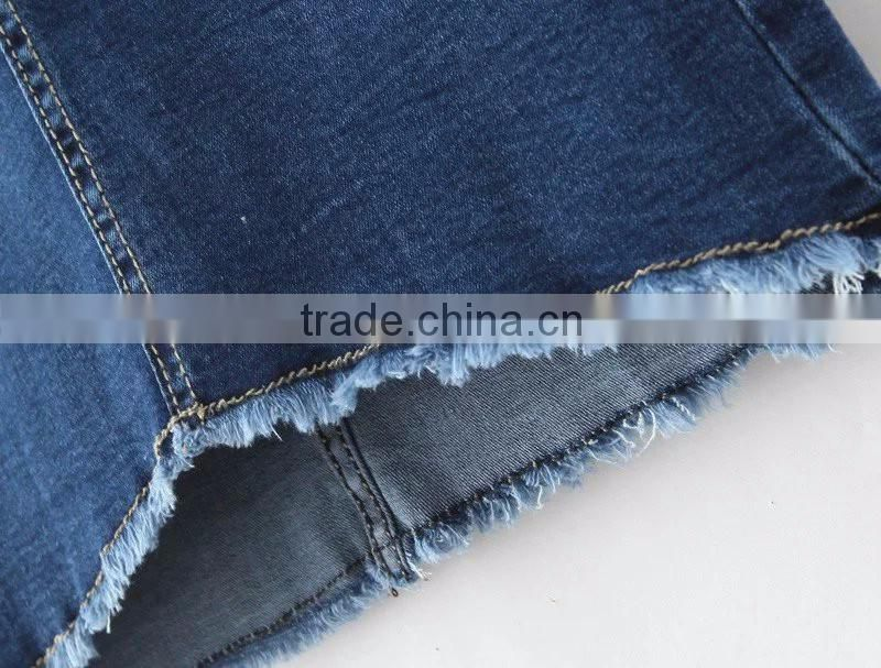 OEM service dark blue with ripped bottom straight simple elastic denim short jeans skirts