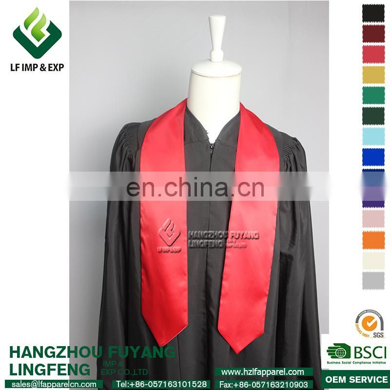 2017 Wholesale Graduation Red Satin Plain Stole For Graduation Middle School