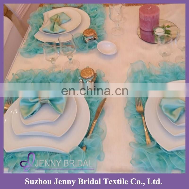 NP018C christmas blue 3d organza ruffles baby table placemat
