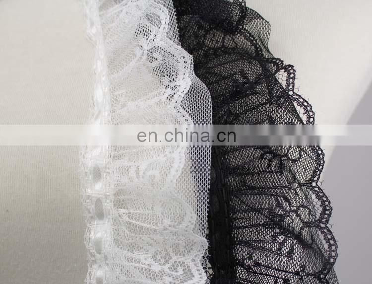 China wholesale white or black flower pattern satin ruffled lace trim