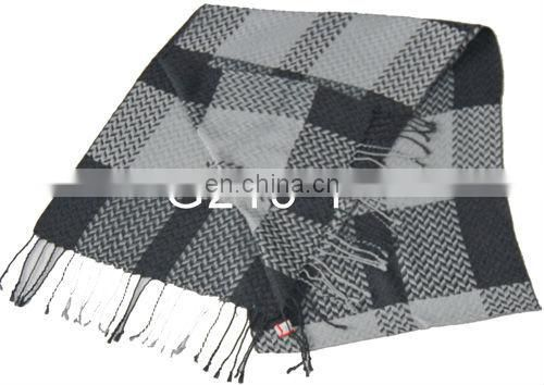 New Design Long Checked Scarf Brushed Silk Hand Hemmed Silk Scarf
