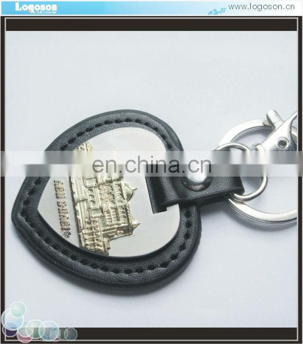 Personalized Dubai custom black leather keychain souvenirs key holder