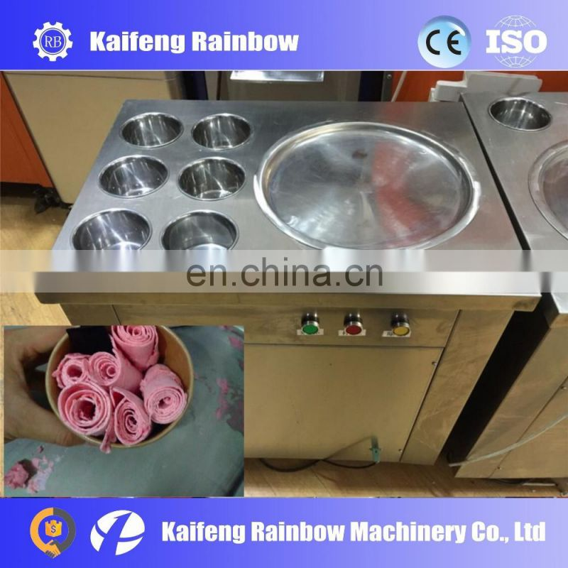 CE approved Professional single round pan fry ice cream machine Thailand double pans frying ice cream roll double pans fried i