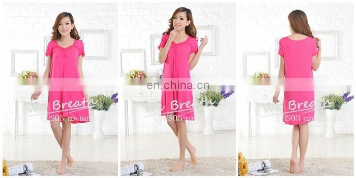 Lace trim square neck short sleeves bamboo sleep gown solid colors