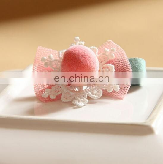 Dainty Pink Hair Clip Baby Lace Alligator Clip Pom Pom Baby Barrettes For Baby Shower Gift