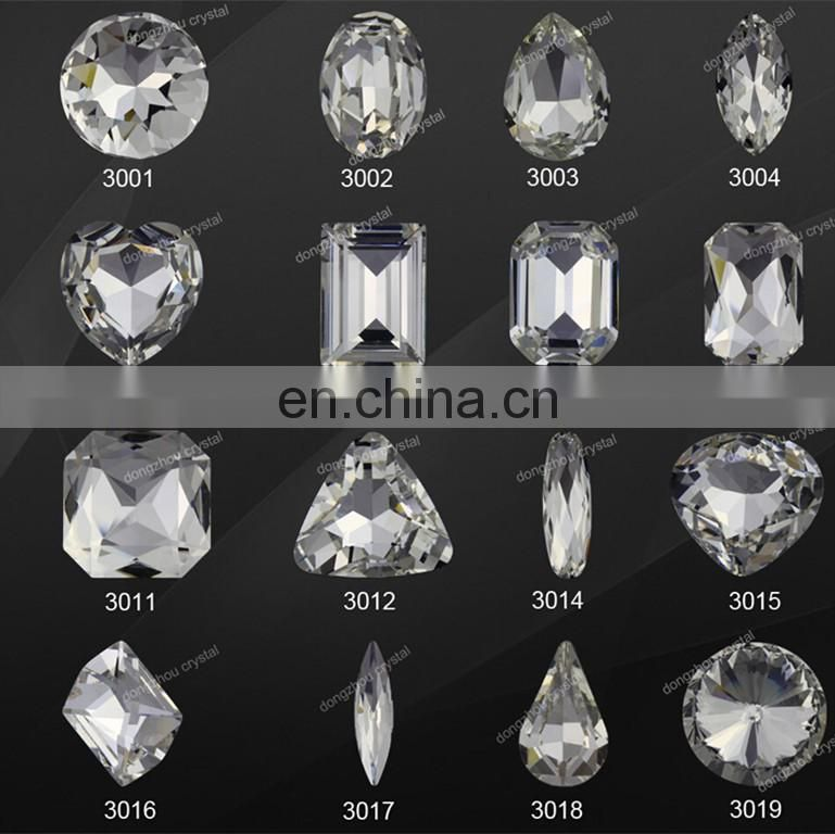 DZ-3017 navette shape crystal glass stone foiled back for fancy jewelry