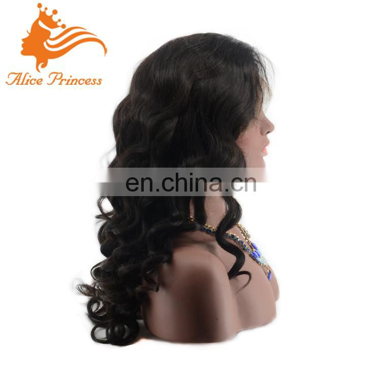 Natural Wave Full Silk Cap Lace Wig Wet And Wavy Indian Remy Full Lace Wig Virgin Brazilian Human Hair Band Fall Wig