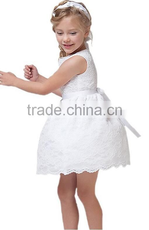db623c63c791 Cute Little Girls Party White Sleeveless Lace Overlay Flowers Girls ...