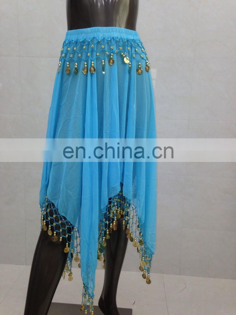 Indian hanging coins Belly dance chiffon skirt Q-6027#