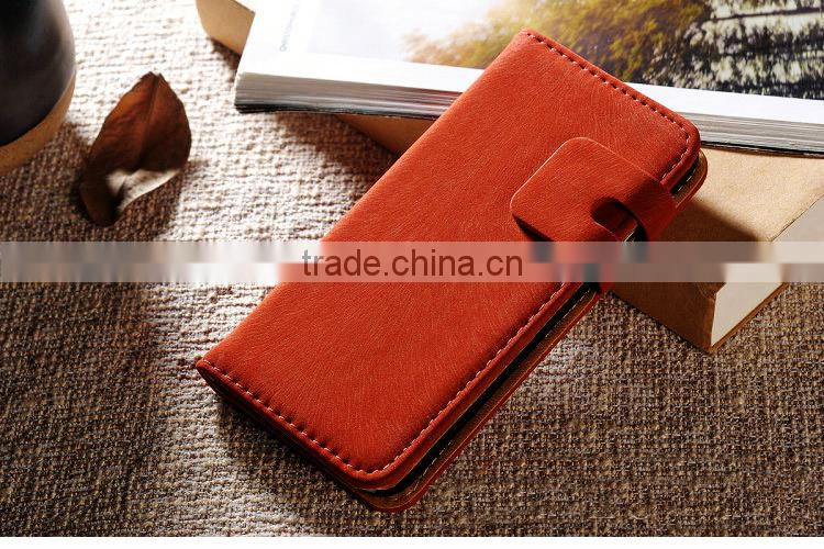 2015 factory Soft feel retro leleather flip cover case for gionee ctrl v5 wallet stand with card slot/holder