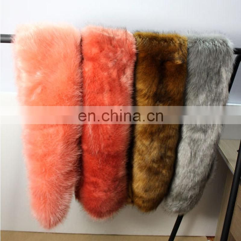 Long thick density fox fur scarf winter lady shawl scarf