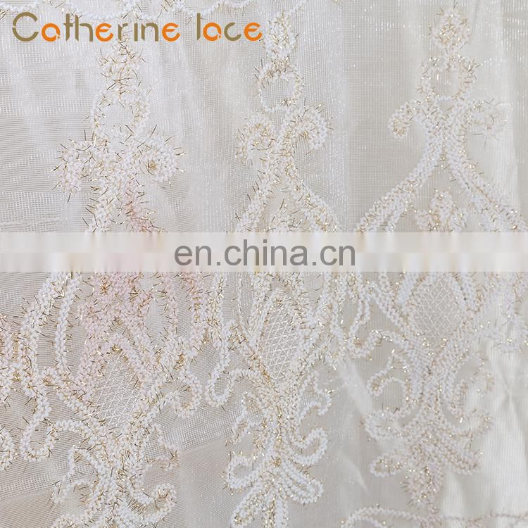 Catherine Factory supply 100% polyester Turkish Curtain Fabric For The Living Room