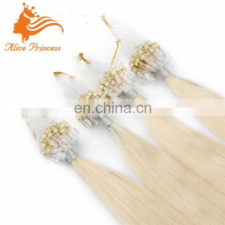Miro loop hair extensions 100g micro ring human hair straight #613 Blonde european fusion hair extensions 100g per pack