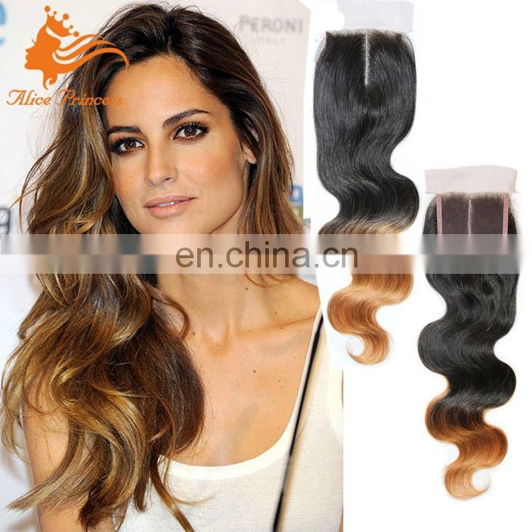 Popular Style 8A Grade Virgin Indian Hair Blonde Ombre Straight Hair Lace Closure Wholesale Middle Part Closure