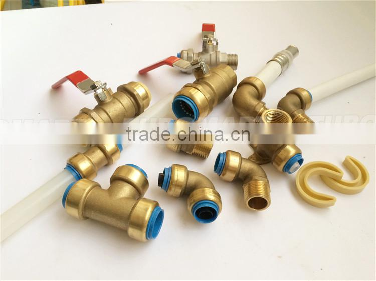 Metal fitting straight / elbow / tee valve brass Push-in Fitting with reasonable price