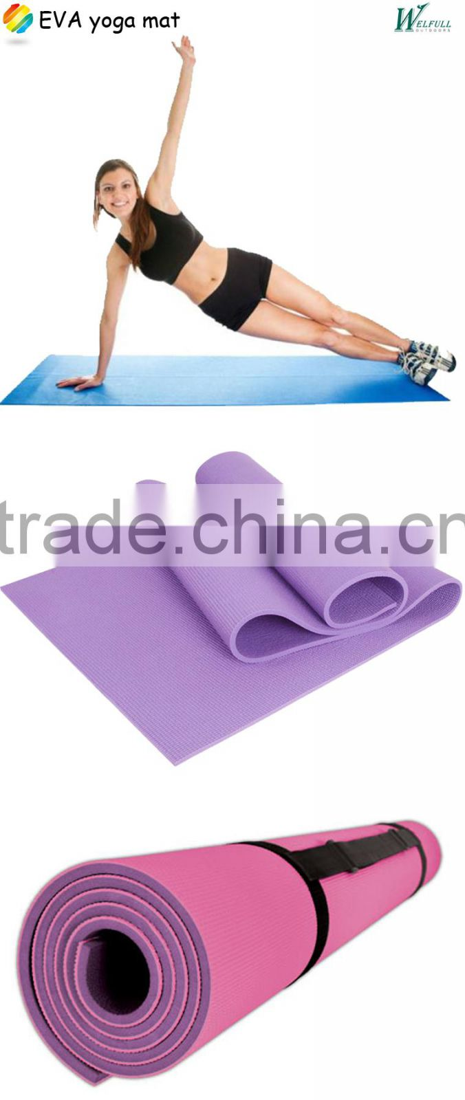 Custom EVA roll-up camping fitness and beach yoga mat(173*61*0.6cm)
