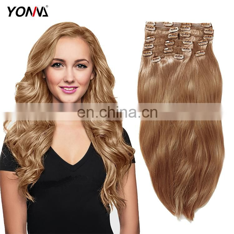 Wholesale price 10 pieces virgin remy clip in human hair extensions 613 blonde extension for black women