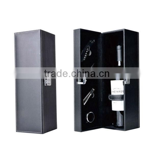 Elegant red wine box with wine stopper