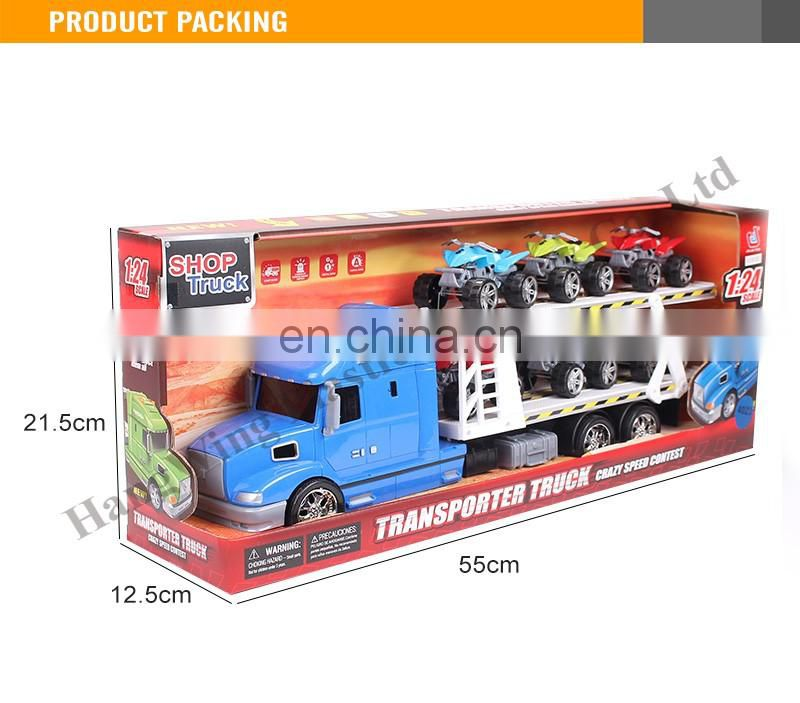 New 50CM plastic Friction truck with light and music trailer 6pcs F/W beach motorcycle friction car