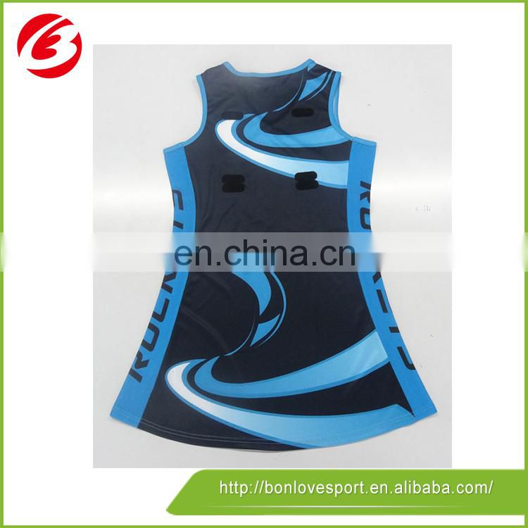 Cheap wholesale custom design netball jersey by lycra fabric