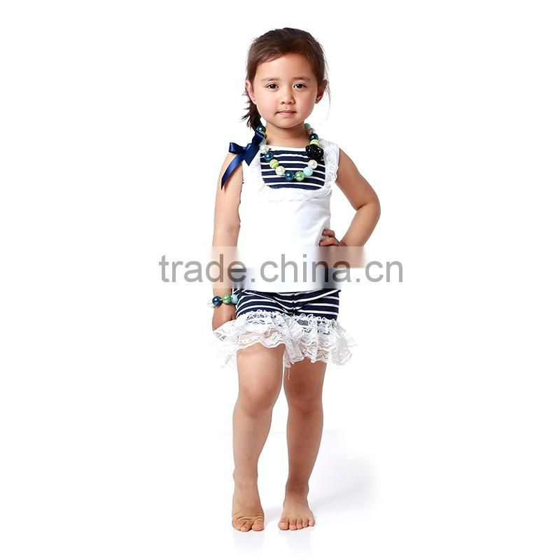 2016 Fashion Cotton Knitted Girls Clothing Sets Boutique Kids Apparel Ruffle Lace Baby Clothes