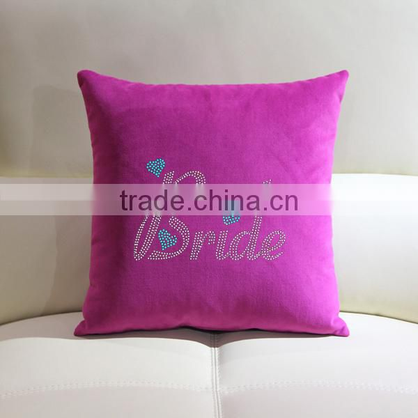 Bling bride rhinestone design iron-on throw pillow