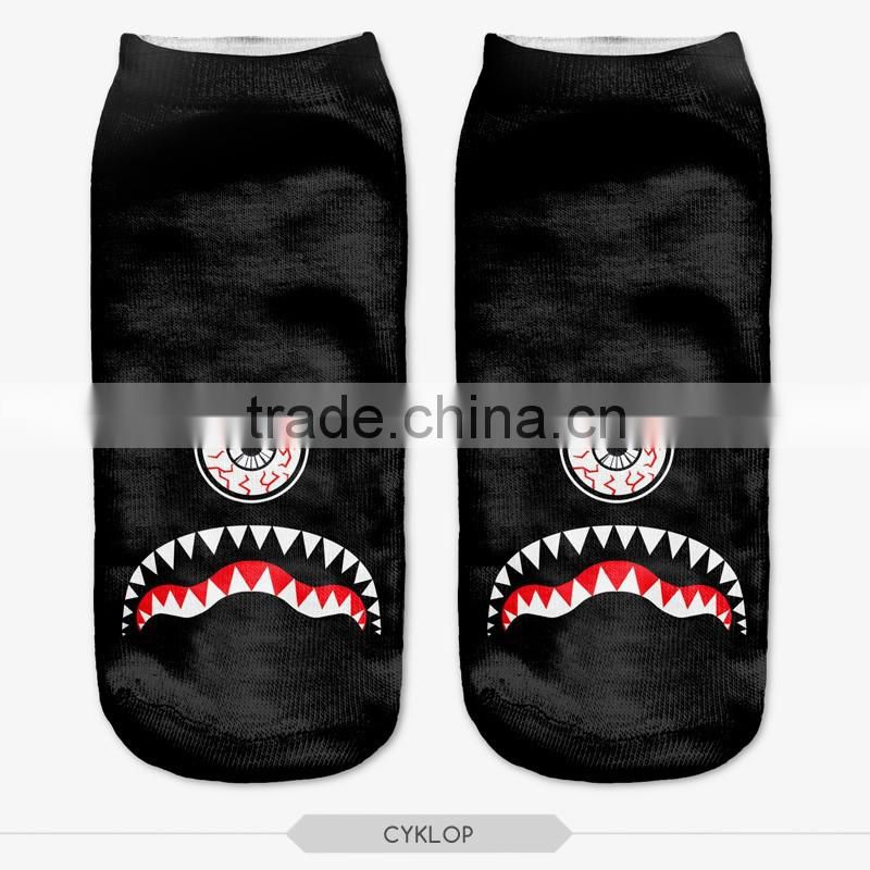 black cats moro green wear high quality 3d digital full print colorful ankle socks sports unisex custom hot sale stretch spandex