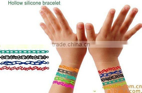 Hot!Hollow silicone bracelet/wristband,various designs for your choice