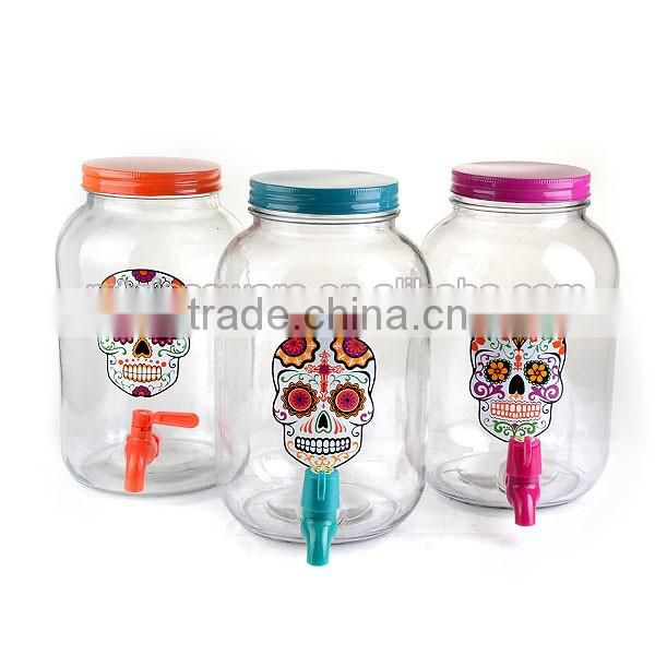 175oz Glass Dispenser with colorful decal and tap with metal s'tand