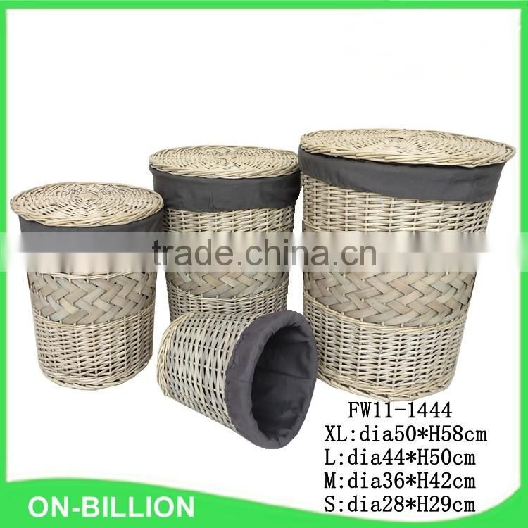 Antique grey color wholesale willow laundry baskets