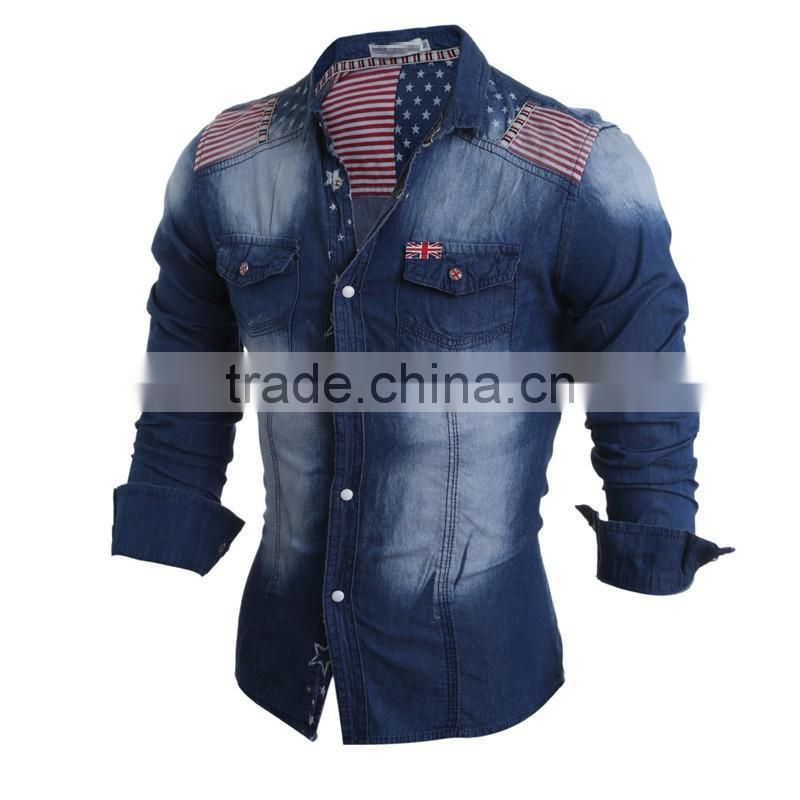 Jeans Shirt Men Brand American Flag Printed Pockets Chemise Homme Casual Long Sleeve Slim Fit Turn Down Collar Denim Shirt Men