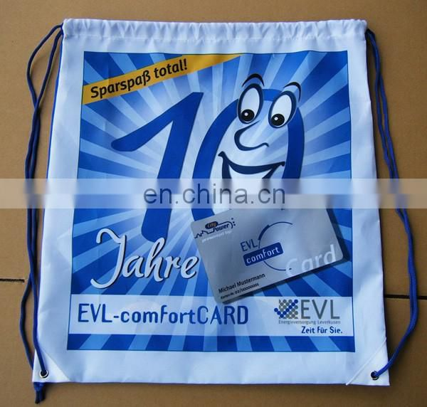 Cheap custom promotional sport pack recycled polyester carry drawstring bag polyester