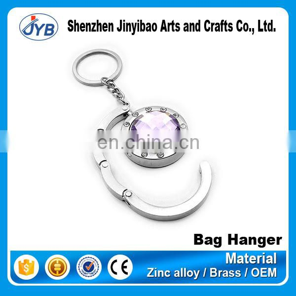 Promotional acrylic heart shape diamond metal bag hook/purse hanger