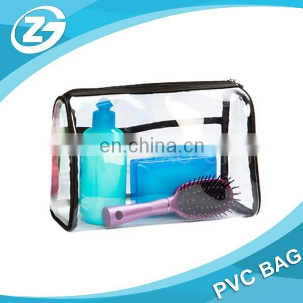 Waterproof Traspaent Logo Printed Polyester PVC Black Cosmetic Bag