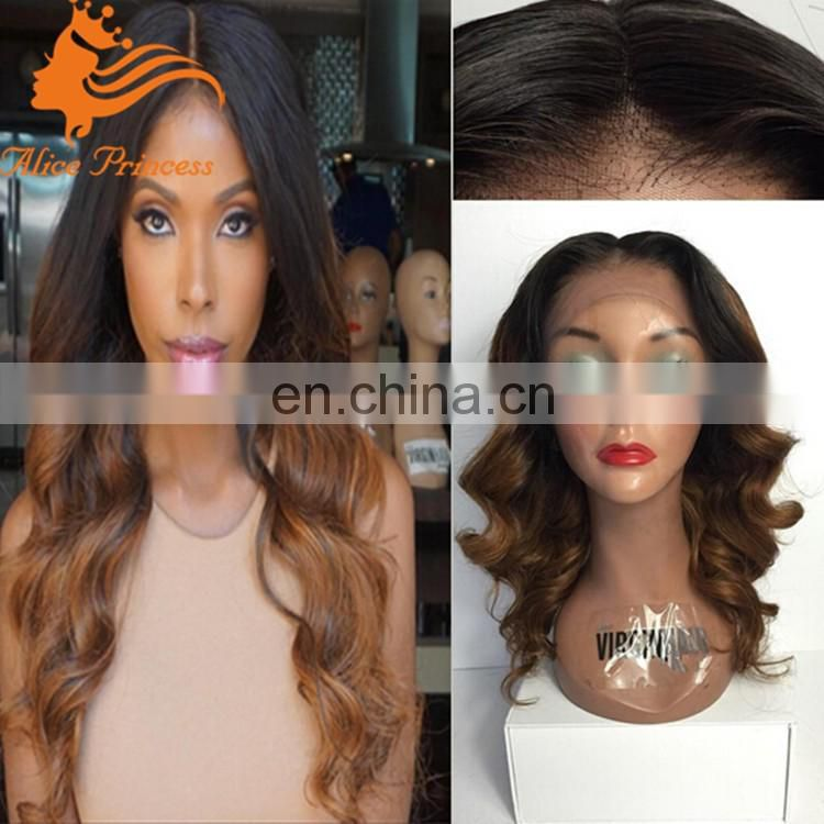 Customized cheap beautiful 130% density full lace wig brazilian hair ombre color wig