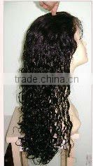 Deep wave #1B 16 inches human hair lace wigs accept customer order