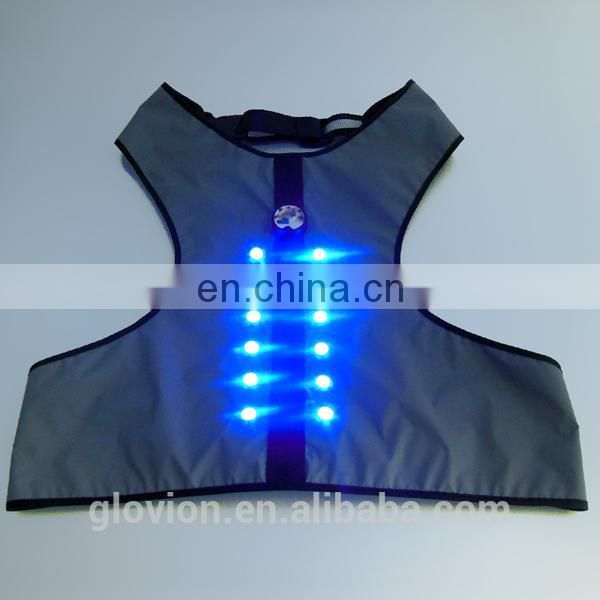 Best seller new design LED flashing Micro USB dog harness for safety